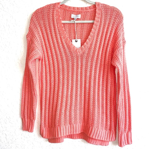 NWT Lucky Brand Ribbed V-Neck Pullover Sweater. S